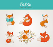 Fox characters, cute, lovely illustrations. Fox characters cute, lovely illustrations - greeting cards Stock Image