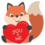 Fox che si siede e che abbraccia un cuore voi e me biglietto di S. Valentino Immagini Stock