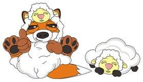 Fox cheated a  sleeping lamb. Sly fox in sheep skin narrow her eyes and a cheated sleeping lamb Royalty Free Stock Image