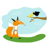 Fox, cheese and crow. Fox looking at the crow with cheese Stock Images