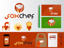 Fox chef logo concept. Food logo concept on green and brown red Royalty Free Stock Image