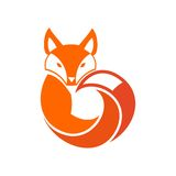Fox. In a circle with a tail ,logo Stock Photography
