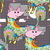 Fox colorful rock seamless pattern Royalty Free Stock Photos