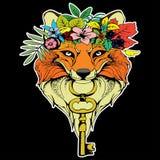 Fox com chave e grinalda ilustração royalty free