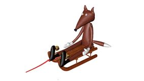 Fox composition 3D illustration. Composition 3D illustration of a Fox plush on a sled Stock Photography
