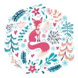 Fox con las flores y los copos de nieve del invierno libre illustration
