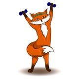 Fox con le teste di legno Fotografie Stock Libere da Diritti