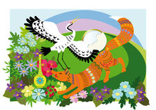 Fox and the Crane. Fox, a crane, a pitcher and bowl of porridge on a background of flower meadow.Illustration to the Russian folk tale Stock Images