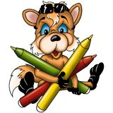 Fox cub with markers Stock Photo