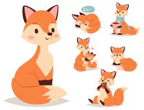 Fox character doing different foxy activities funny happy nature red tail and wildlife orange forest animal style. Fox cute adorable character doing different Stock Photo