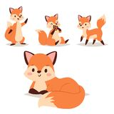Fox character doing different foxy activities funny happy nature red tail and wildlife orange forest animal style. Fox cute adorable character doing different Stock Photography