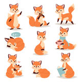 Fox cute adorable character doing different activities funny happy nature red tail and wildlife orange forest animal Stock Image