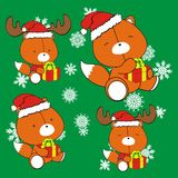 Fox cute cartoon xmas claus costume set Stock Photos