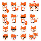 Fox cute character icons, wildlife Royalty Free Stock Photos