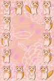 Fox cute flower fabric frame. Illustration drawing fox cute flower fabric frame template graphic element Stock Photos