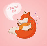 Fox, cute, lovely illustration and greetin card, Mother's day Stock Photo