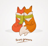 Fox, cute, lovely illustration and greetin card, Valentines day Stock Photo