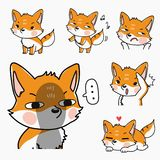 Fox cute set many emotion and action vector illustration