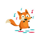 Fox On The Dancefloor. Adorable Cartoon Style Flat Vector Illustration Isolated On White Background Royalty Free Stock Photography