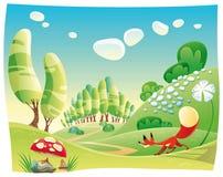 Fox dans le bois. illustration de vecteur