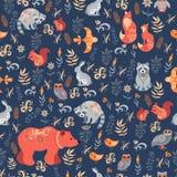 Fox del bosque del Hada-cuento, oso, mapache, búhos, conejos, flores e hierbas en un fondo azul Fotografía de archivo libre de regalías