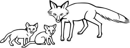 Fox della madre e cuccioli Fotografia Stock Libera da Diritti