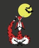 Fox, der im Mondschein meditiert Lizenzfreies Stockbild