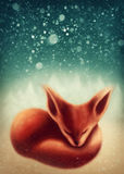 Fox, der im Winterwald schläft Lizenzfreie Stockfotografie