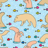 Fox dive fish seamless pattern. Illustration abstract fox dive fish cool dot color background cute seamless pattern graphic element Royalty Free Stock Photos