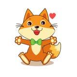 Fox divertente sveglio Carattere allegro Vettore del fumetto Fox divertente Memes di vettore del fumetto Immagini Stock