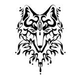 Fox or dog face, tattoo. Vector illustration, isolated on white. Stock Image