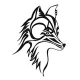 Fox or dog face, tattoo. Vector illustration, isolated on white. Royalty Free Stock Photography