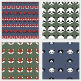 Fox, dog and owl cute vector animal seamless pattern stock illustration
