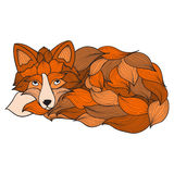 Fox , dog or wolf of the waves. Doodle illustrations . It can be used llja tattoo , print , T-shirt logo Royalty Free Stock Images