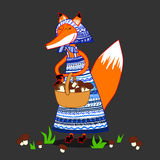Fox dress with patterns, searches and collects mushrooms in a basket Royalty Free Stock Photo