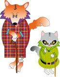 Fox e gatto Fotografia Stock Libera da Diritti