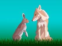 Fox e lebre que sentam-se na grama ilustração stock