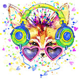 Fox and earphone T-shirt graphics. Fox illustration with splash watercolor textured  background. unusual illustration watercolor Stock Photos