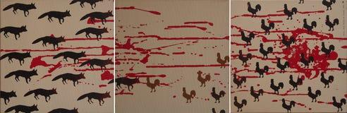 Fox ed il gallo Fotografia Stock