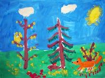 Fox in einem Wald - gemalt vom Kind stock abbildung
