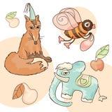 Fox, elephant, bee, pear and apple Royalty Free Stock Photo