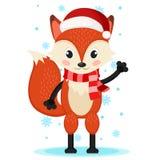 Fox em um chapéu e em um lenço do Natal que acenam sua pata ilustração stock