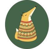Fox em um fundo verde Imagens de Stock Royalty Free