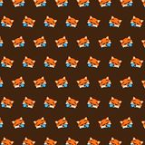 Fox - emoji pattern 31. Pattern of a emoji fox that can be used as a background, texture, prints or something else stock illustration