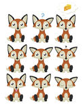 Fox Emoticon set Fotografia Royalty Free