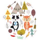 Fox et blaireau dans l'illustration scandinave de vecteur de style, ENV illustration stock