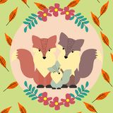 Fox family, dad, mom and kid. Woodland animal on leaves background Stock Images
