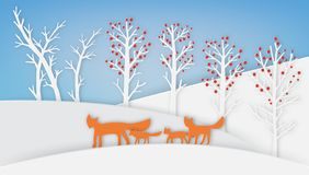 Fox family are walking with snow and tree royalty free illustration