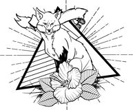 Fox with flower and leafes vintage neo traditional tattoo black and white sketch. tattoo and t-shirt designs. Hand drawn retro animal tattoo sketch with roses in stock illustration