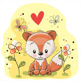Fox with flowers and butterflies. On a meadow royalty free illustration